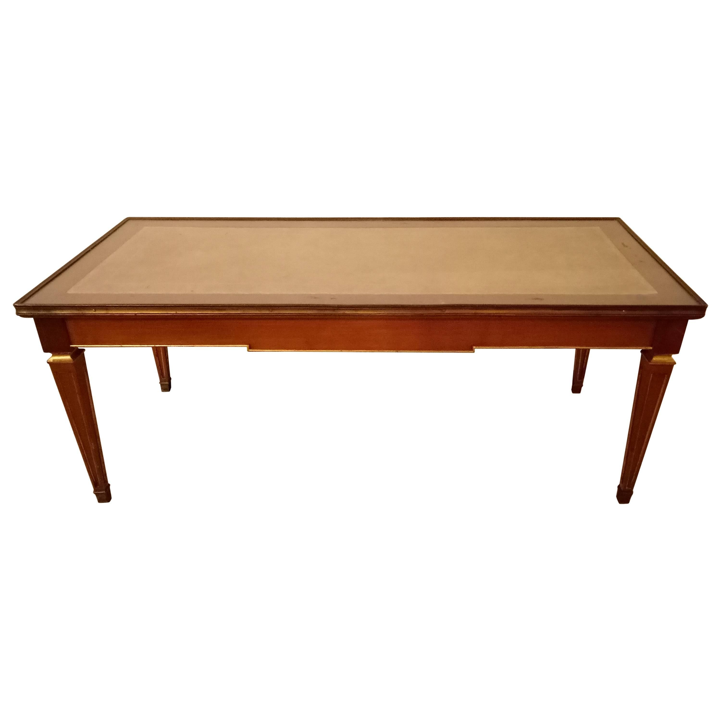 Louis XV Style Glass Top Jansen Style Coffee Table