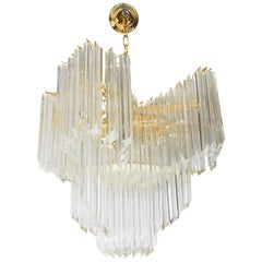 Venini Modern Chandelier with Murano Glass Quatro Punta Prisms