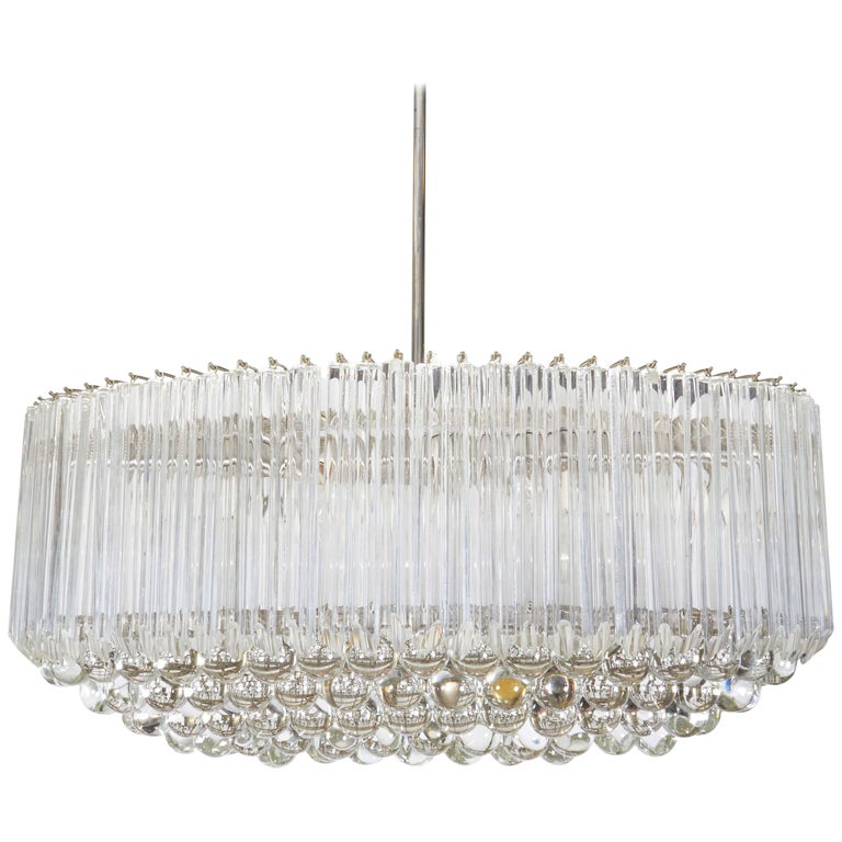 Venini Quatro Punta Prism Oval Chandelier with Crystal Balls For Sale
