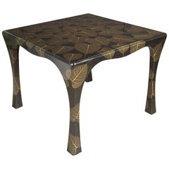 Mid-Century Modern Asian Inspired Black Lacquer Card Table with Leaf Motif