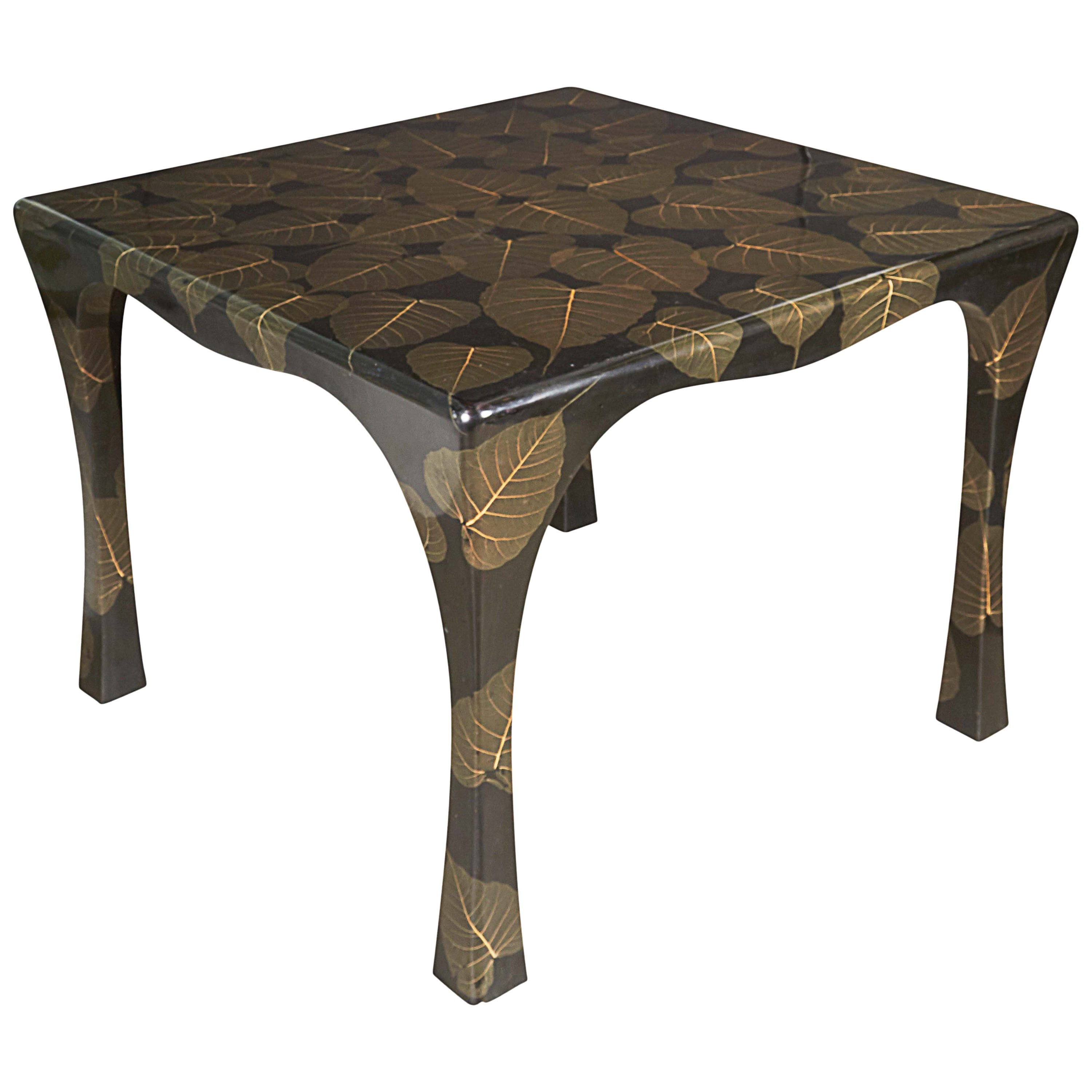 Mid Century Modern Asian Inspired Black Lacquer Card Table With Leaf