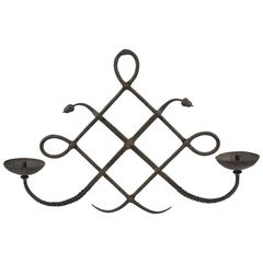 1970s Italian Wrought Iron Wall Candleholder Sconce by Modarchitectura