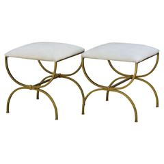 Pair of Gilt Wrought Iron and Hide Stools by Design Frères