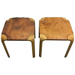 Two Alvar Aalto Fan Leg Stools or Side Tables