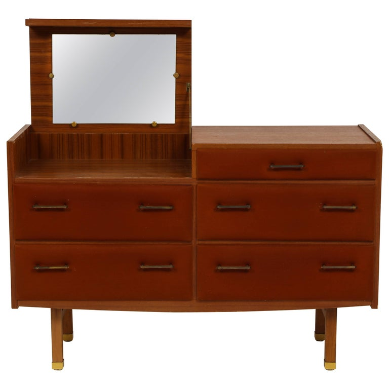 Roger Landault Midcentury Rust Teak Brass Vanity Commode French Modernist, 1960  For Sale