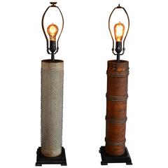 Pair of Table Lamps Created From Rollers Used for Printing Wallpaper
