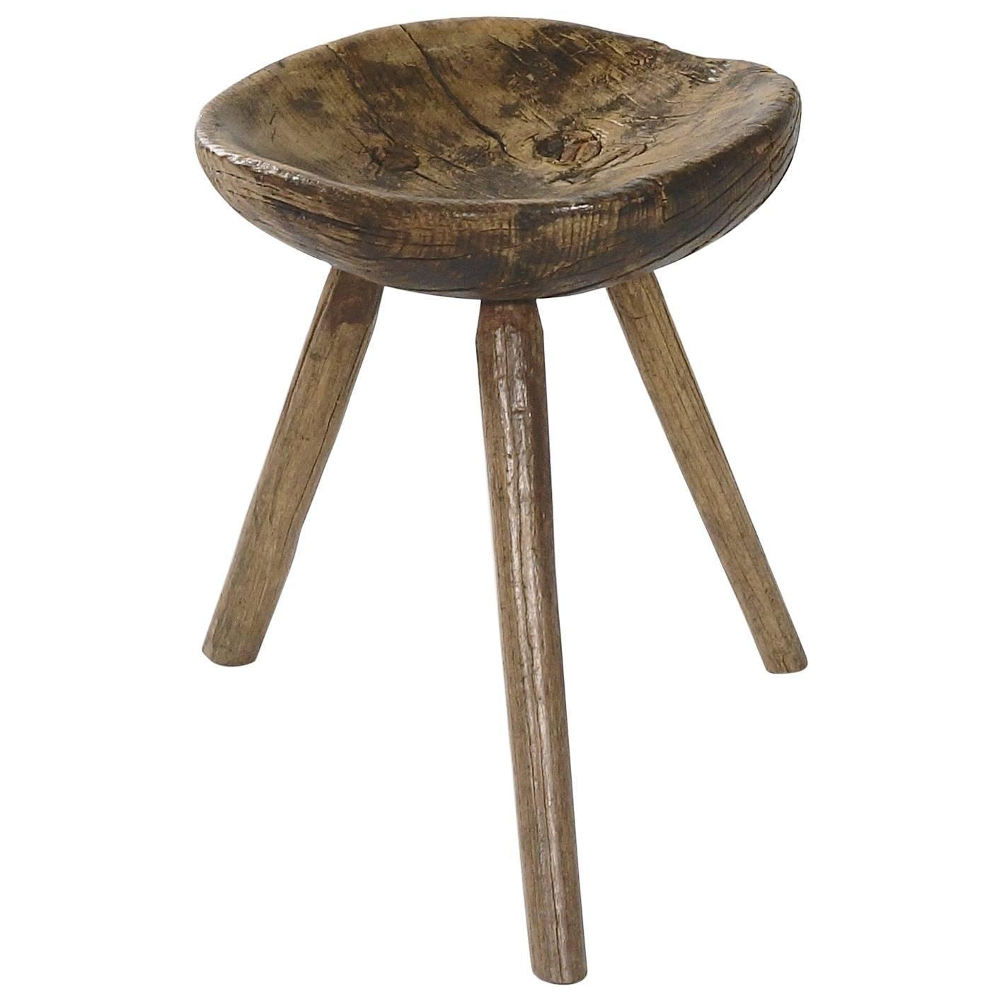 A Rustic Elmwood Milking Stool For Sale At 1stdibs