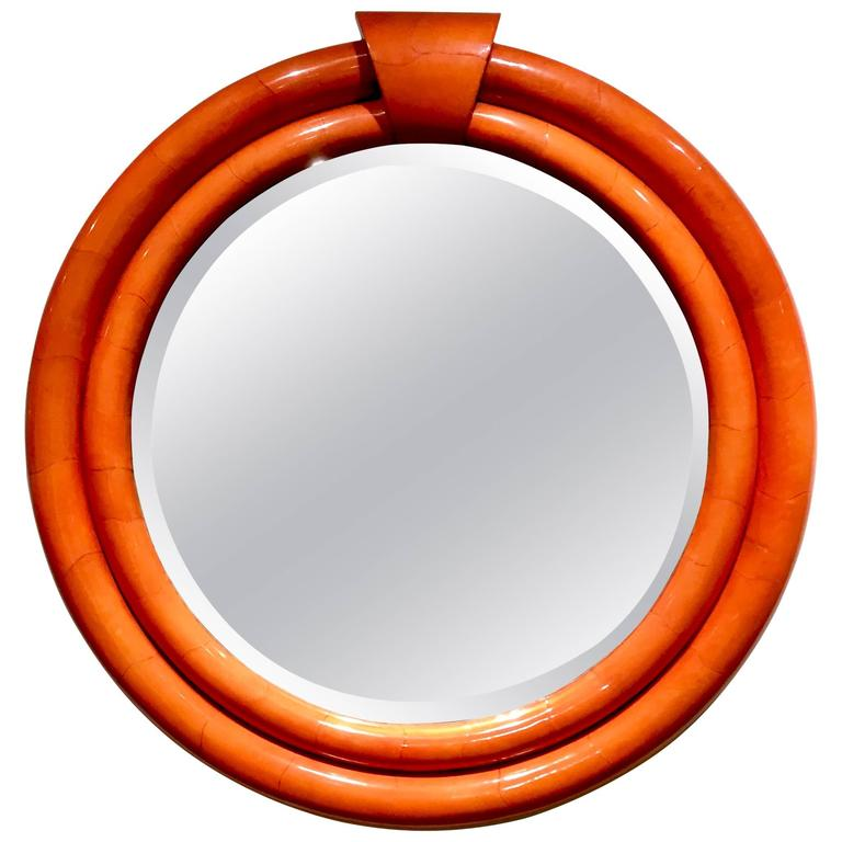 Karl Springer Style Goatskin Mirror At 1stdibs