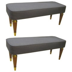 Pair of Italian Mid-Century Modern Upholstered Benches