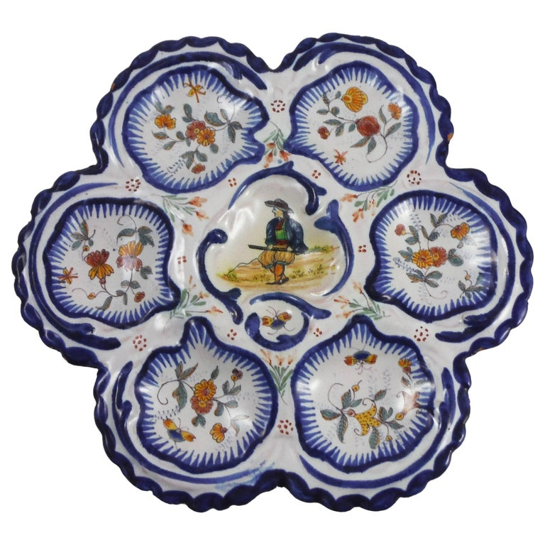19th Century French Faience Breton Oyster Plate For Sale