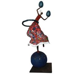 21st Century Blue and Red Sculpture by Mexican Artist Miriam Ladron De Guevara