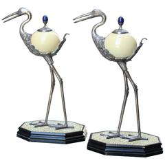 Pair of Anthony Redmile Silver Plated Ostrich Egg Ornaments