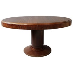 Fine French Art Deco Mahogany and Burl Elm Pedestal Oval Table