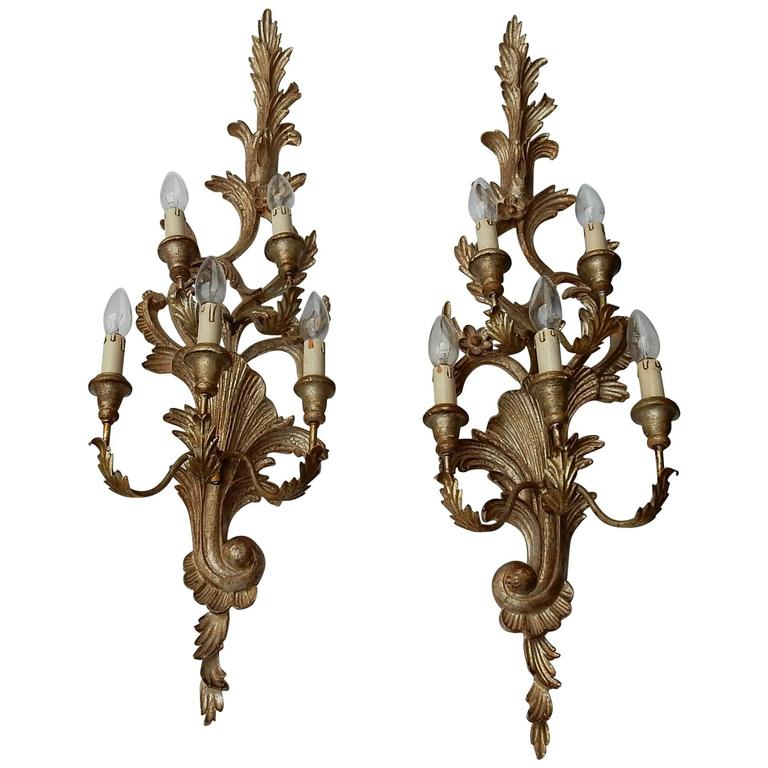 1950s to 1970s Era Pair of Sconces Silvered Wood in the Style of Louis XV