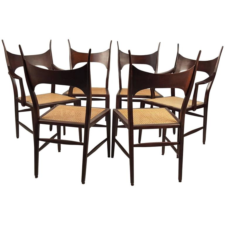 Set of Six Edward Wormley 5580 Dining Chairs for Dunbar 1950s