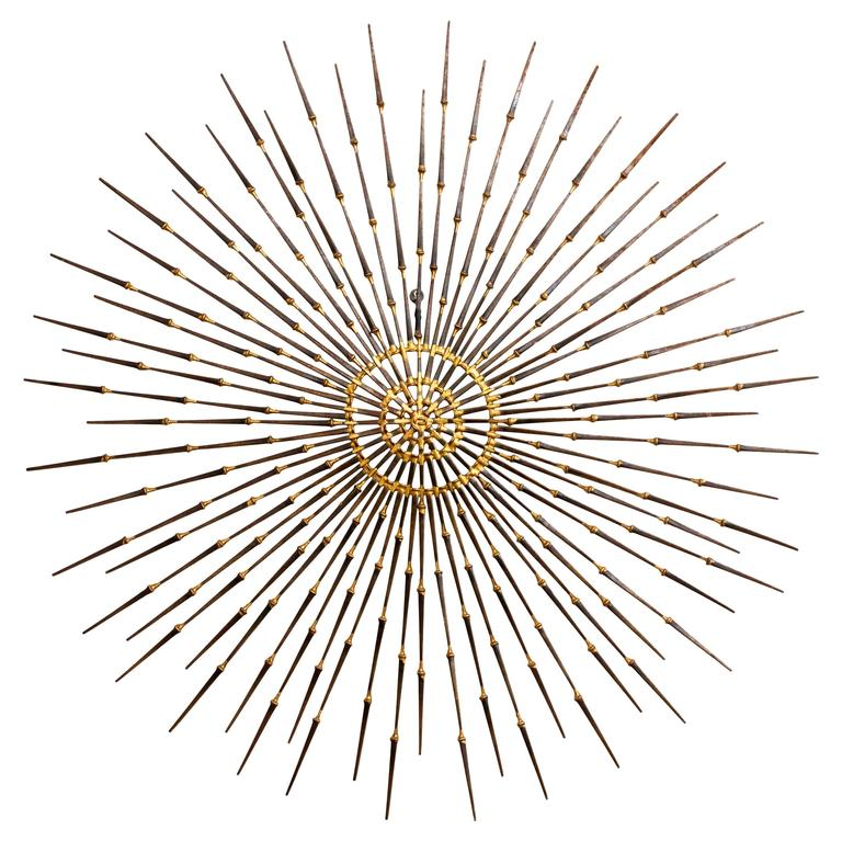 Gilded Metal Sunburst Wall Sculpture Art by Ron Schmidt, circa 1969 1