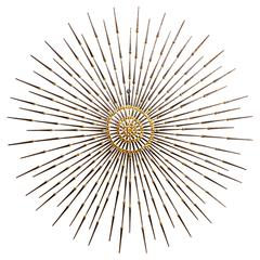 Gilded Metal Sunburst Wall Sculpture Art by Ron Schmidt, circa 1969