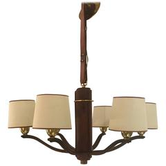 Pigskin and Brass Chandelier by Longchamp