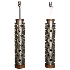 Pair of Industrial Cutters as Table Lamps