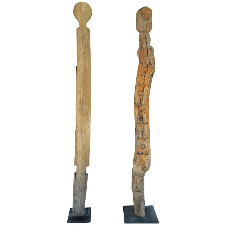 Tall Hand Carved Wood African Tribal Figures on Metal Bases