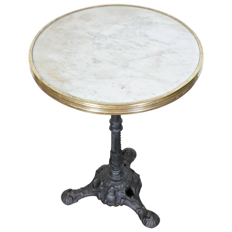French Parisian Bistro Table With Marble Top For Sale