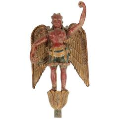 Antique Statue of a Winged Hindu Female Deity