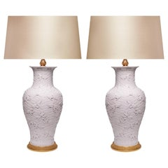 Pair of Fine Carved White Porcelain Lamps