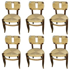 1950 Set of Six Tinted Wood and Rope Chairs