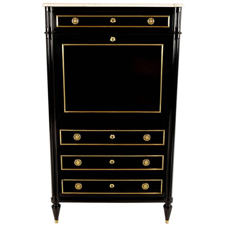Antique French Louis Xvi Secretaire With Brass D 233 Cor At