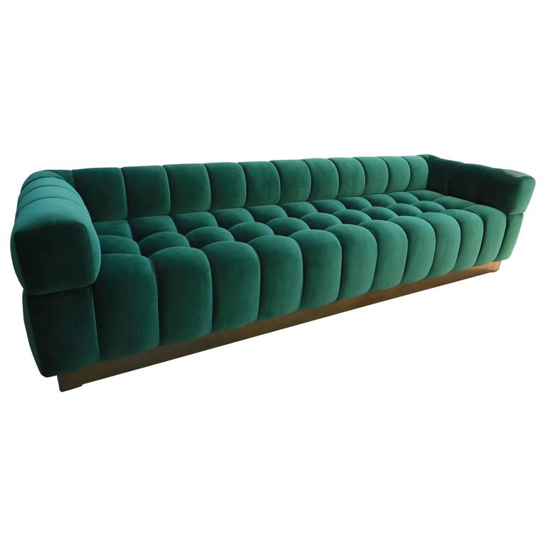 Custom Tufted Green Velvet Sofa with Brass Base