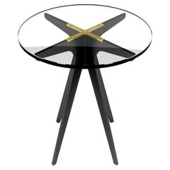 Dean Round Side Table with Black Steel and Brass Hardware and Clear Glass