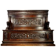 Antique Italian Renaissance Style Bench in Heavy Carved Walnut circa 1860