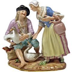 Meissen Rare Figurine Group The Deal with Geese by Circle of J.J.Kaendler c.1870