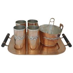 SUPERB MODERNE Victoria Taxco Copper & Sterling Silver Ice Bucket Tray Cups Set
