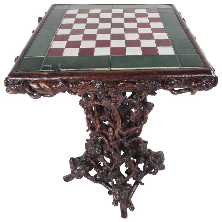 Exceptional American Adirondack Style Rustic Game Table For Sale