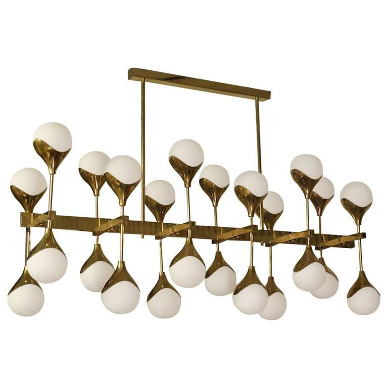 1980 In The Manner Of Max Ingrand Brass And Glass Italian Chandelier For Sale