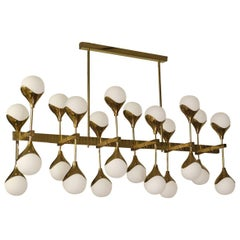 MidCentury in the Manner of Max Ingrand Brass and Glass Italian Chandelier, 1980
