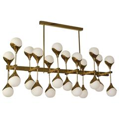 1980 in the Manner of Max Ingrand Brass and Glass Italian Chandelier