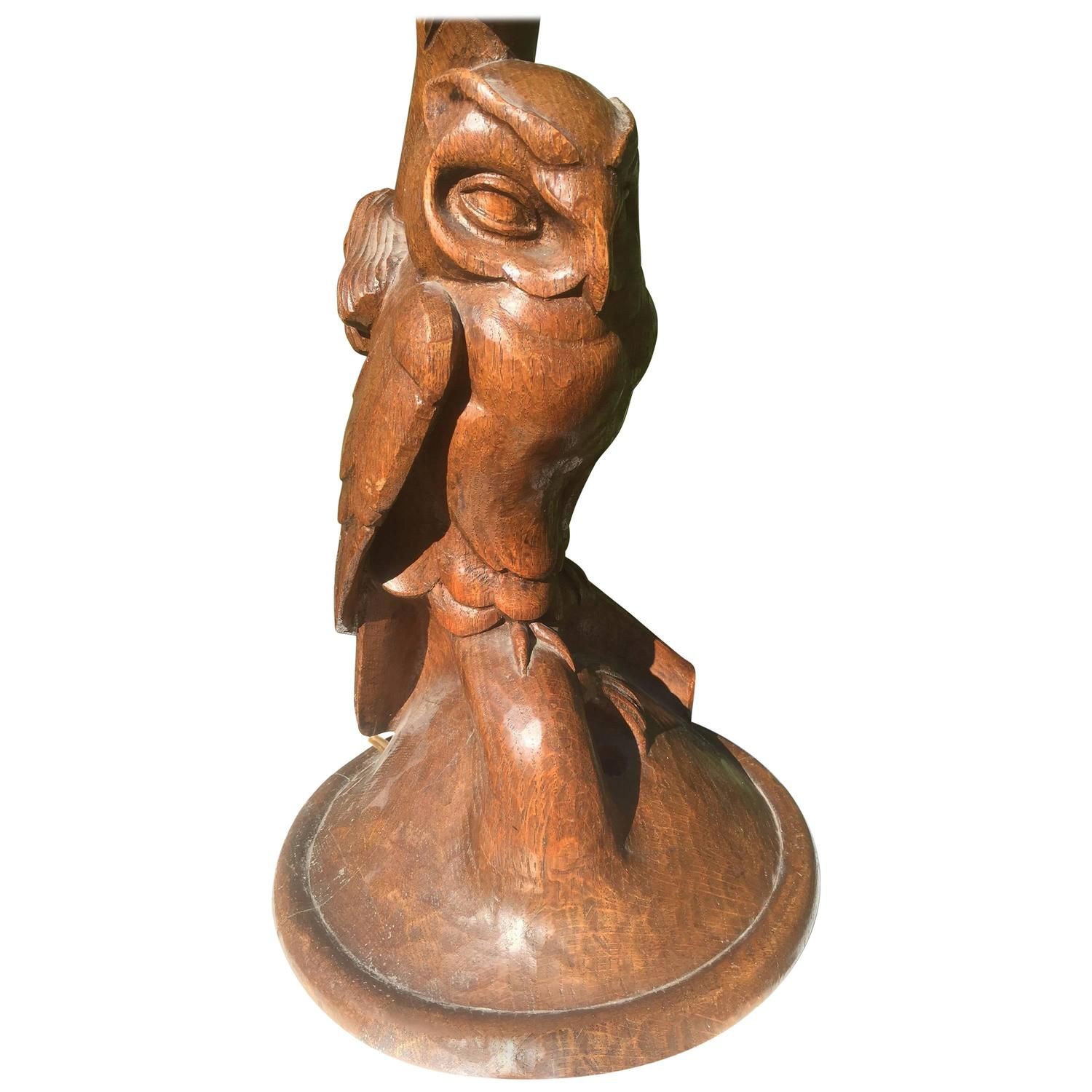 Early 1900 arts and crafts fine art carved wood owl table or desk early 1900 arts and crafts fine art carved wood owl table or desk lamp for sale at 1stdibs aloadofball Choice Image