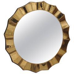 2010 Brass and Wood Italian Wall Mirror