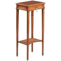 French Louis XVI Style Leather Top Side Table in Cherrywood, 1950s