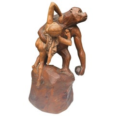 Early 1900 Gorilla Carrying off a Woman Crafted in Wood after Emmanuel Fremiet