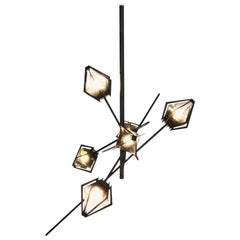 Harlow Small Chandelier in Blackened Steel and Alabaster White Glass