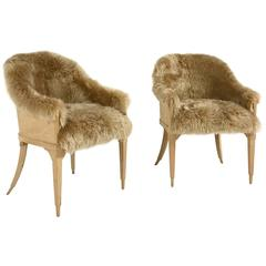 Pair of Vintage Barrel Back Chairs in Sheepskin