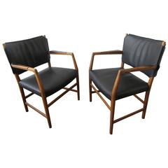 Pair of Aarhus City Hall Chairs by Hans Wegner Reupholstered in Black Leather