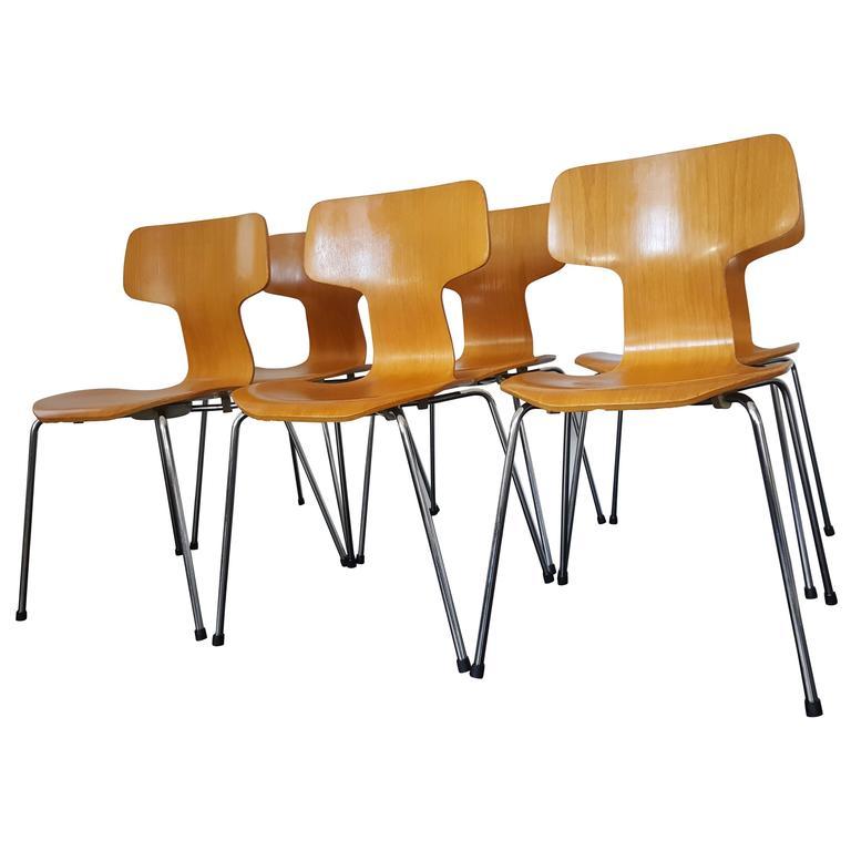 Six Model 3103 Beech Hammer/T Chairs By Arne Jacobsen For Fritz Hansen 1