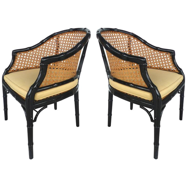 Vintage Pair Of Lacquered Faux Bamboo And Cane Chairs At