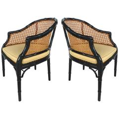 Vintage Pair of Lacquered Faux-Bamboo and Cane Chairs