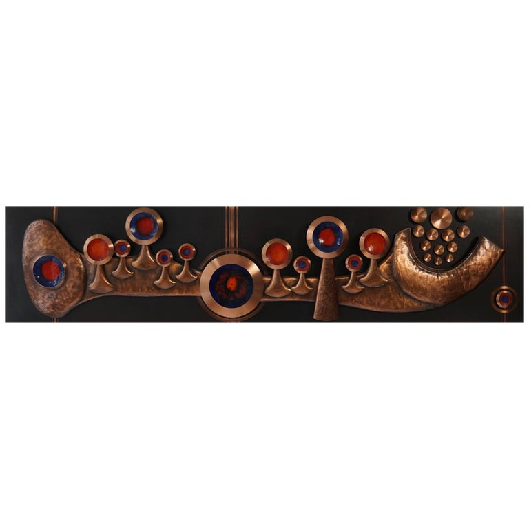 Copper Wall-Mounted Sculpture For Sale