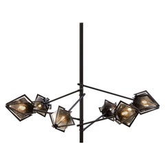 Harlow Spoke Chandelier in Satin Brass, Blackened Steel, Alabaster White Glass